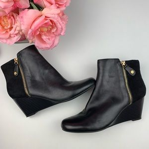 Isaac Mizrahi Live! Leather & Suede Wedge Booties